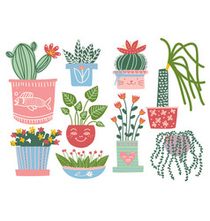 blooming plants in pots set indoor potted vector image