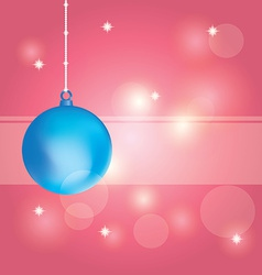 Blue christmas ball on abstract pink background vector