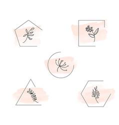Botanical logo outline drawing in set vector