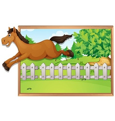 Brown horse jumping over the fence vector image