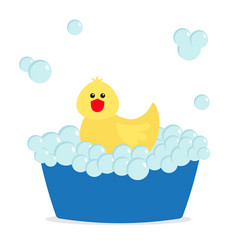 Bubble bath yellow rubber duck bird toy bathtub vector