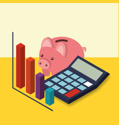 business piggy bank calculator and chart diagram vector image