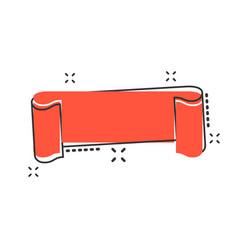 cartoon empty ribbon icon in comic style blank vector image