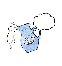 cartoon milk jug with thought bubble vector image
