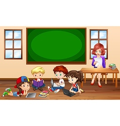 Children doing groupwork in classroom vector