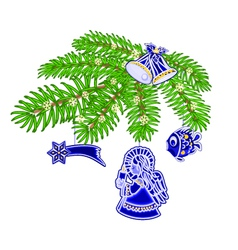 Christmas decoration branch with blue faience vector image