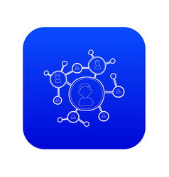 Connection icon blue vector