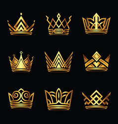 Crown modern gold logo set vector