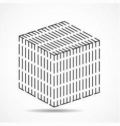 cube of lines geometric square shape vector image
