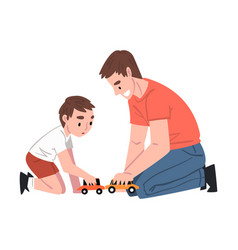 Dad and his son sitting on floor playing toy cars vector