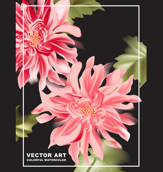 dahlia print poster on dark background pink vector image