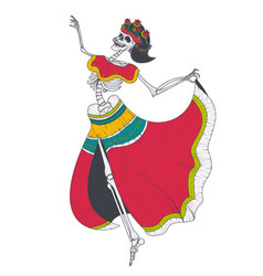 dancing female skeleton vector image