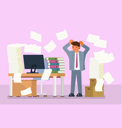 Depressed office worker flat style design vector