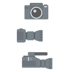 Digital photo camera and professional video camera vector image