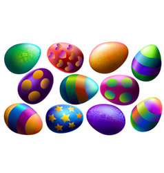 easter set realistic multi-colored easter eggs vector image