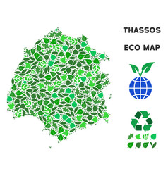 Ecology green collage thassos greek island vector