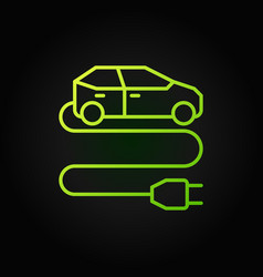 electric vehicle with plug green line icon vector image