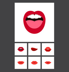 Flat icon lips set of teeth tongue lips and vector