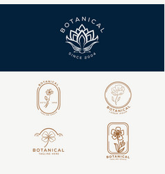 Floral element botanical hand drawn logo with wild vector