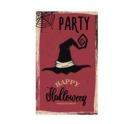 flyer template halloween party witch hat vector image