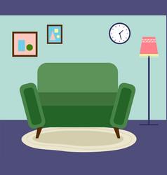 furniture interior sofa floor lamp paintings vector image