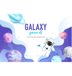 Galaxy frame design with astronaut and planet vector