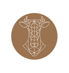 geometric head of a cow farm animal vector image