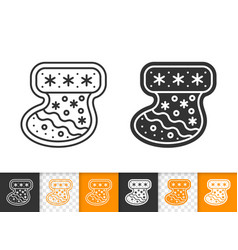 gingerbread cookie xmas sock gift line icon vector image
