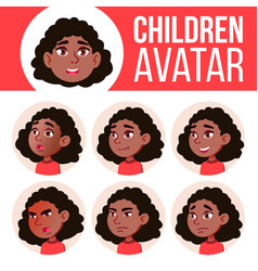 girl avatar set kid black afro american vector image