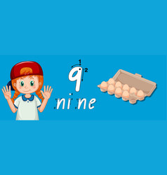 Girl showing how to write number nine vector