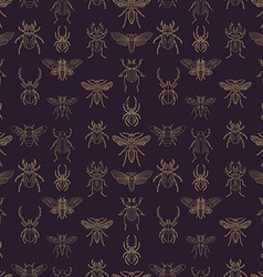 Gold and purple insects seamless pattern vector image