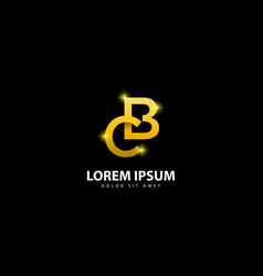 Gold letter b logo bc letter design with golden vector