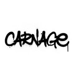 graffiti carnage word sprayed in black over white vector image