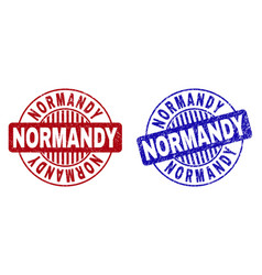 Grunge normandy scratched round watermarks vector