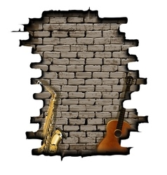 guitar and saxophone in the opening wall vector image
