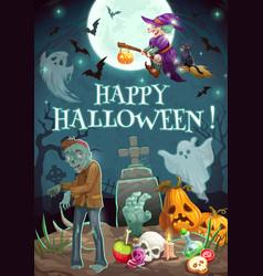 Halloween night graveyard zombie ghosts pumpkin vector
