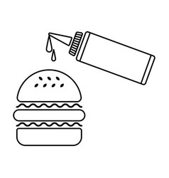 Hamburger and sauce vector