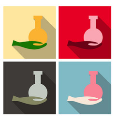 hand holding flask and test tube icon chemical vector image