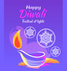 happy diwali festival of lights 2017 poster vector image