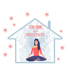 happy woman sitiing in a lotus pose inside house vector image