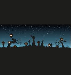 holiday halloween black silhouettes pumpkins vector image