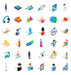 Hr icons set isometric style vector