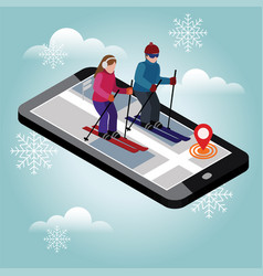 Isometric man and woman skiing cross country vector
