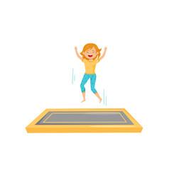 joyful teenage girl jumping on square trampoline vector image