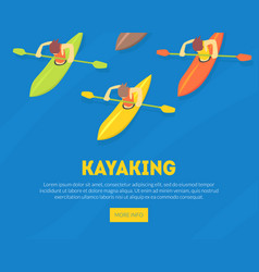 kayaking water sport landing page template vector image