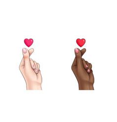 korean finger heart symbol means i love you hangul vector image