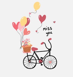 Love card flat design hand drawn bicycle with vector