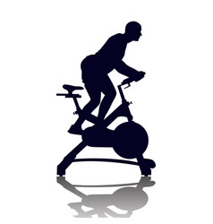 Male silhouette on exercycle in spinning class vector