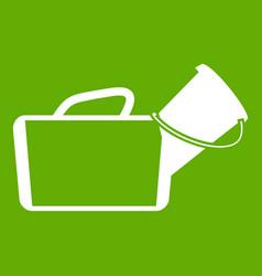 medical bag icon green vector image