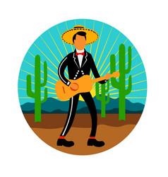 Mexican mariachi in desert circle retro vector